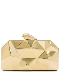 Women Clutches Fashion Geometic Evening Clutch Metal Clutch Purse H1901 GOLD