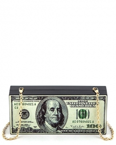 $100 Dollar Bill Plastic Case Clutch Purse H5031