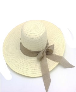 Ribbon Trimmed Straw Hat  HA300227 TAUPE