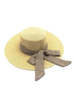 Sun Hat with Ribbon Bow  HA300276 IVORY