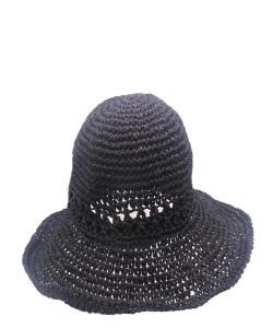 Straw Bucket Hat HA300278 Black