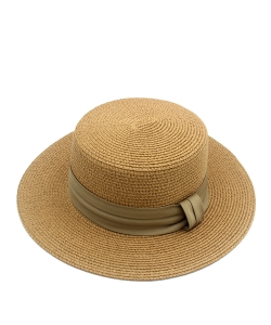 Round Flat Top Straw Hat  HA300280 TAUPE