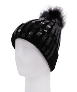 Knitted Pom Beanie Hat HA320006 BLACK