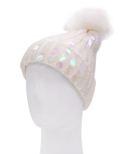 Knitted Pom Beanie Hat HA320006 IVORY
