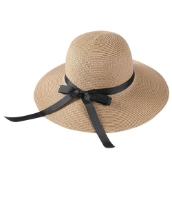 Summer Straw Hat with Bow HA320008 TAN