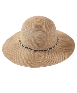 Summer  Straw Hat with Chain Point HA320011 TAN