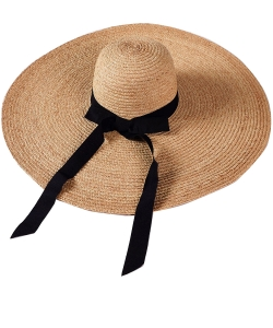 Wide Summer Straw Hat with Bow HA320014 TAN