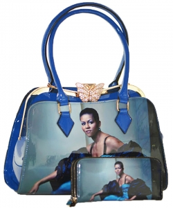 2in1 Michelle Obama Butterfly top Satchel Bag with Wallet HB1918 BLUE