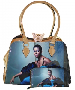 2in1 Michelle Obama Butterfly top Satchel Bag with Wallet HB1918 BEIGE