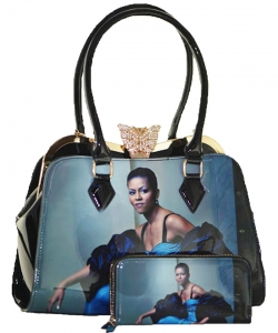 2in1 Michelle Obama Butterfly top Satchel Bag with Wallet HB1918 BLACK
