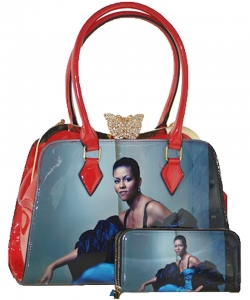 2in1 Michelle Obama Butterfly top Satchel Bag with Wallet HB1918 RED