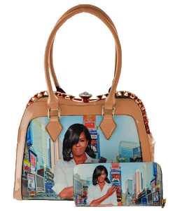 2 in 1 Michelle Obama Fashion Bag HB1919 BEIGE