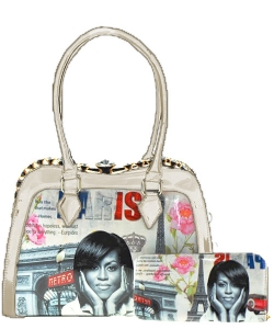 2 in 1 Michelle Obama Fashion Bag HB1919 SHELL