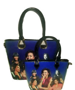 2in1 Michelle Obama and Africa American Icons Style Handbags Collection HB1926A BLUE