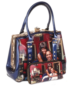 Glossy Magazine Cover Satchel Bag with wallet set HB616 BLUE