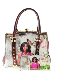 Glossy magazine cover satchel bag purses bowling bag Michelle Obama bags with wallet set