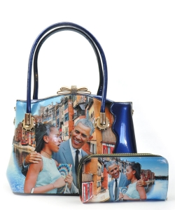 Obama Family Satchel Handbag and Wallet HB619B BLUE