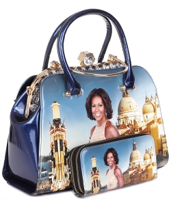 Glossy Magazine Cover Satchel Bag with wallet set HB620 BLUE