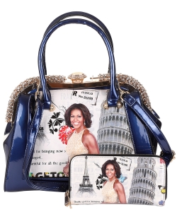 2in1 Michelle Obama Jewel top Satchel Bag with Wallet HB621 BLACK