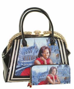 2in1 Michelle Obama Jewel top Satchel Bag with Wallet