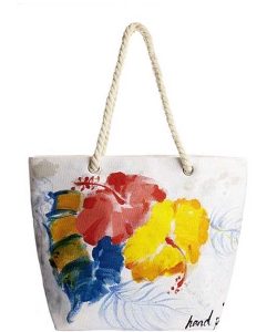 Flower Pot Hand Painted Tote Bag  HBG-103522-103528