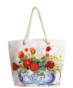 Flower Pot Hand Painted Tote Bag  HBG-103528