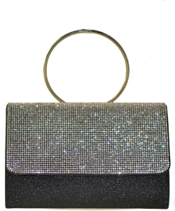 Fashion Crystal Handbag with Round Metallic Ring BLACK