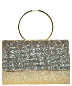 Fashion Crystal Handbag with Round Metallic Ring HBG102946 GOLD