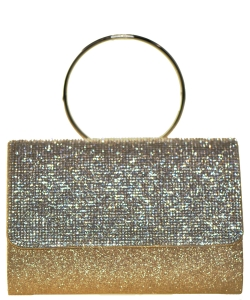 Fashion Crystal Handbag with Round Metallic Ring GOLD