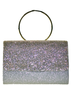 Fashion Crystal Handbag with Round Metallic Ring SILVER