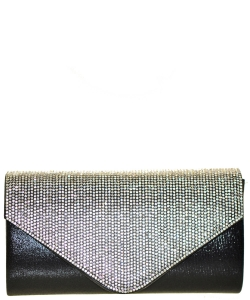 Crystal Flap Clutch Bag BLACK