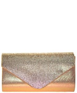 Crystal Flap Clutch Bag GOLD