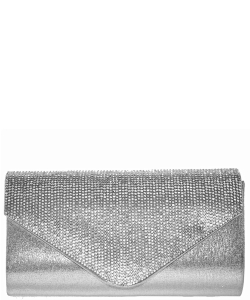 Crystal Flap Clutch Bag SILVER