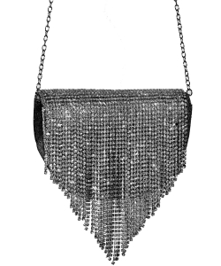 Crystal Flap Crossbody Bag BLACK
