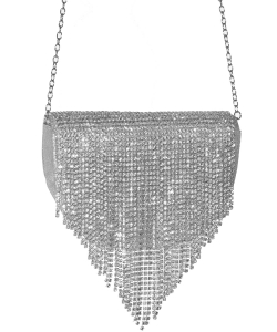 Crystal Flap Crossbody Bag SILVER