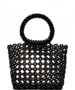 Trendy Beaded Tote Bag HBG103285 BLACK