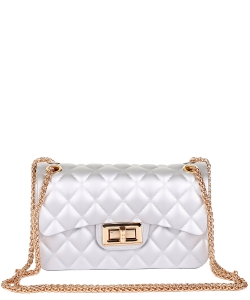 Quilt Embossed Jelly Small Classic Shoulder Bag HBG103578 SILVER
