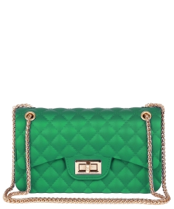 Quilt Embossed Jelly Large Classic Shoulder Bag HBG103579 GREEN