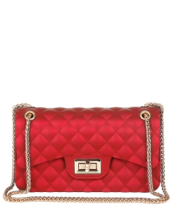 Quilt Embossed Jelly Large Classic Shoulder Bag HBG103579 RED