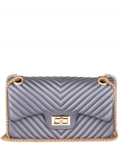 Chevron Embossed Crossbody Bag HBG103581 PEWTER