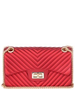 Chevron  Embossed Crossbody Bag HBG103581 RED