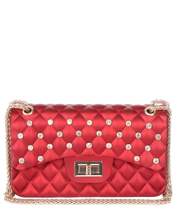 Jelly Rhinestone Quilted Crossbody Bag HBG103582 RED