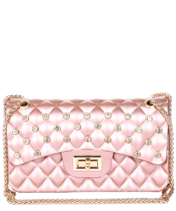 Jelly Rhinestone Quilted Crossbody Bag HBG103582 ROSEGOLD