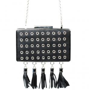 Designer Inspired Faux Leather Clutch w/ Hanging Tassels & Circle Stud Accent