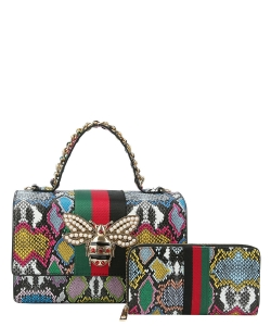 Queen Bee Stripe 2-in-1 Boxy Satchel HG-0064W MULTI SNAKE
