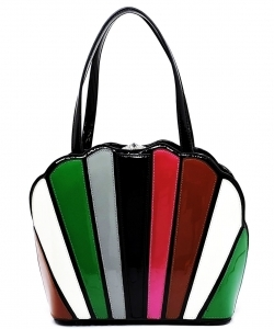 Patent Multi Striped Fan-Shaped Black HL700 BK/MT