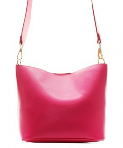 Fashion Faux Leather Messenger Bag HR073 FUSHIA