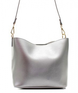 Fashion Faux Leather Messenger Bag HR073 SILVER