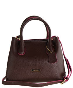 Idigao Women Fashion PU Leather Shoulder Bags with Wallet Top-Handle Handbag Tote Bag Purse IDIGAO BURGANDY