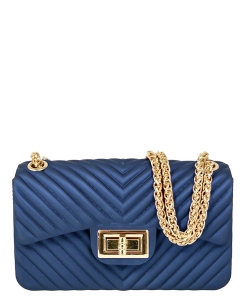 Chevron Embossed Jelly Small Classic Shoulder Bag JA0004 BLUE